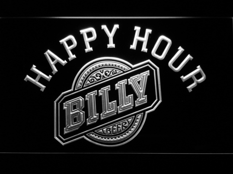 Billy Beer Happy Hour LED Neon Sign - White - SafeSpecial