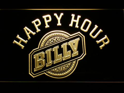 Billy Beer Happy Hour LED Neon Sign - Yellow - SafeSpecial