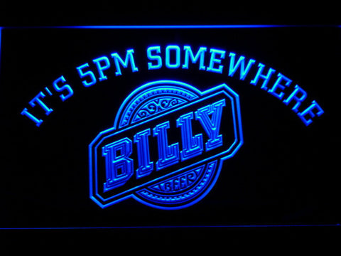 Image of Billy Beer It's 5pm Somewhere LED Neon Sign - Blue - SafeSpecial