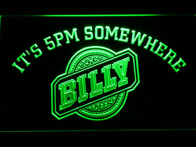 Billy Beer It's 5pm Somewhere LED Neon Sign - Green - SafeSpecial