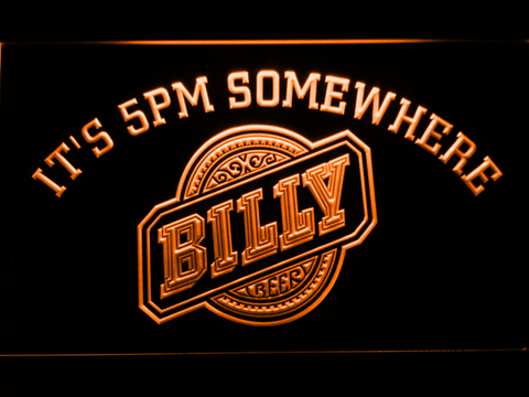 Image of Billy Beer It's 5pm Somewhere LED Neon Sign - Orange - SafeSpecial