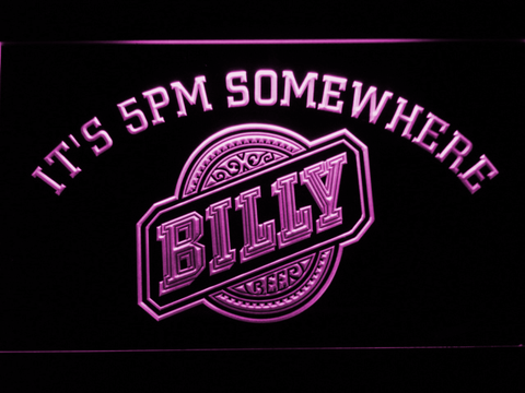 Image of Billy Beer It's 5pm Somewhere LED Neon Sign - Purple - SafeSpecial