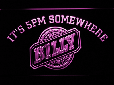 Billy Beer It's 5pm Somewhere LED Neon Sign - Purple - SafeSpecial
