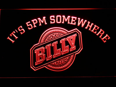 Billy Beer It's 5pm Somewhere LED Neon Sign - Red - SafeSpecial