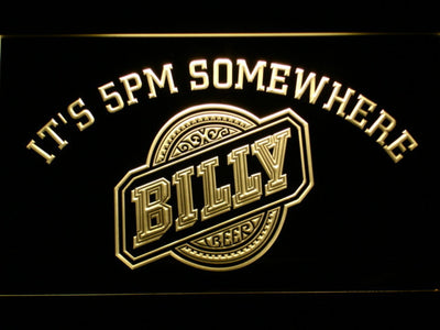 Billy Beer It's 5pm Somewhere LED Neon Sign - Yellow - SafeSpecial
