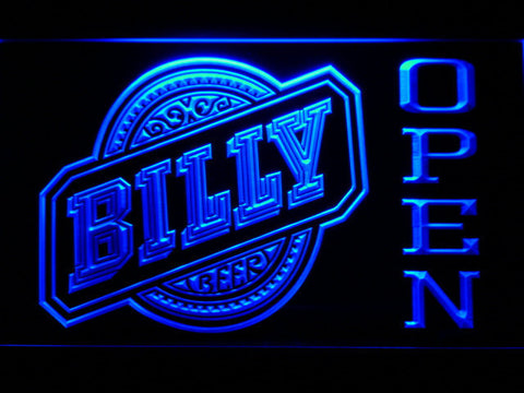 Billy Beer Open LED Neon Sign - Blue - SafeSpecial