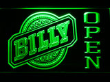 Billy Beer Open LED Neon Sign - Green - SafeSpecial