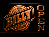 Billy Beer Open LED Neon Sign - Orange - SafeSpecial