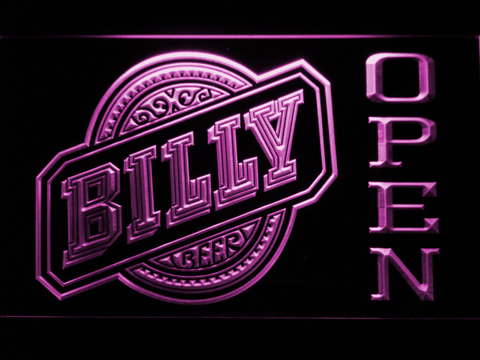 Billy Beer Open LED Neon Sign - Purple - SafeSpecial