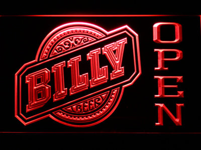Billy Beer Open LED Neon Sign - Red - SafeSpecial