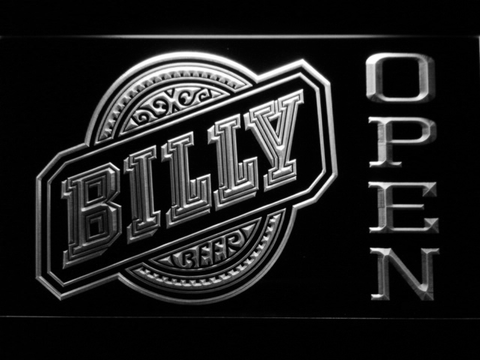 Billy Beer Open LED Neon Sign - White - SafeSpecial