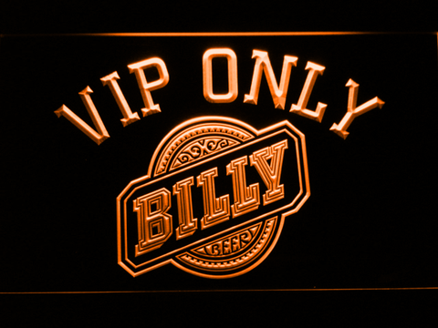 Billy Beer VIP Only LED Neon Sign - Orange - SafeSpecial