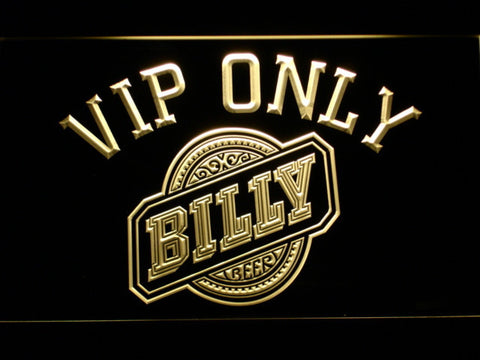 Billy Beer VIP Only LED Neon Sign - Yellow - SafeSpecial