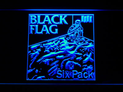 Black Flag Six Pack LED Neon Sign - Blue - SafeSpecial