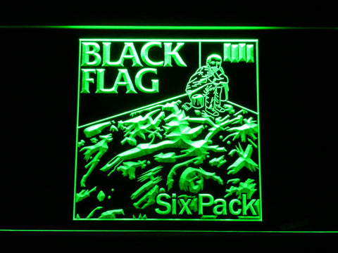 Image of Black Flag Six Pack LED Neon Sign - Green - SafeSpecial