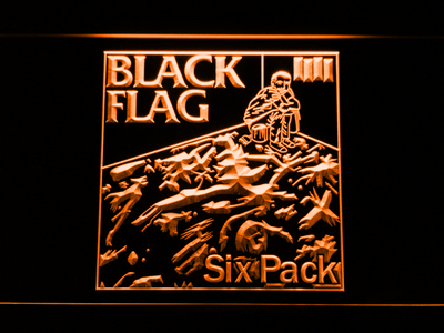 Black Flag Six Pack LED Neon Sign - Orange - SafeSpecial