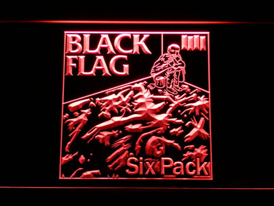 Black Flag Six Pack LED Neon Sign - Red - SafeSpecial