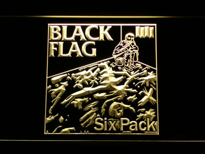 Black Flag Six Pack LED Neon Sign - Yellow - SafeSpecial