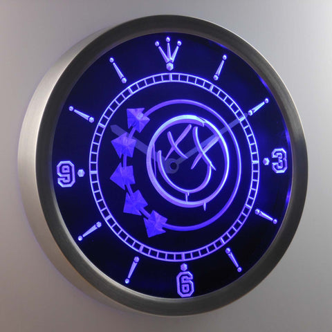 Blink 182 Smiley LED Neon Wall Clock - Blue - SafeSpecial