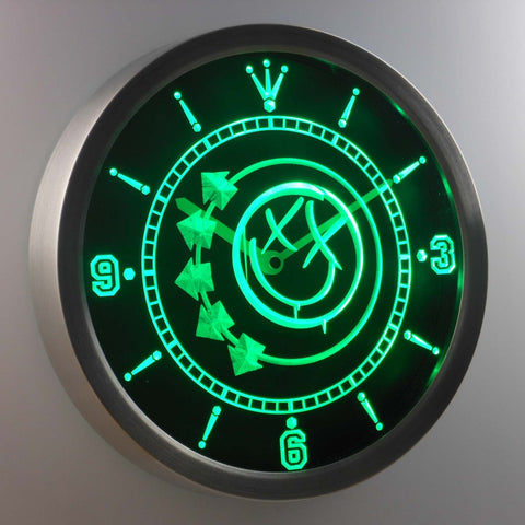 Image of Blink 182 Smiley LED Neon Wall Clock - Green - SafeSpecial