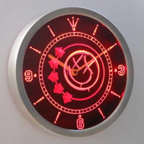 Image of Blink 182 Smiley LED Neon Wall Clock - Red - SafeSpecial