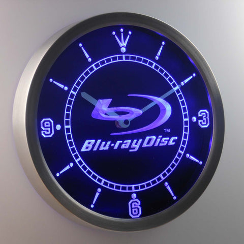 Blu-ray Disc LED Neon Wall Clock - Blue - SafeSpecial
