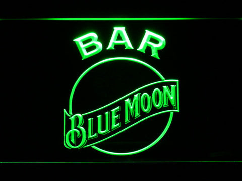 Blue Moon Bar LED Neon Sign - Green - SafeSpecial