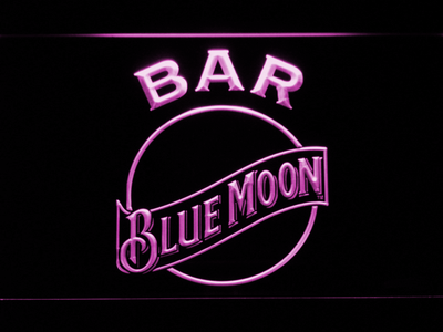 Blue Moon Bar LED Neon Sign - Purple - SafeSpecial