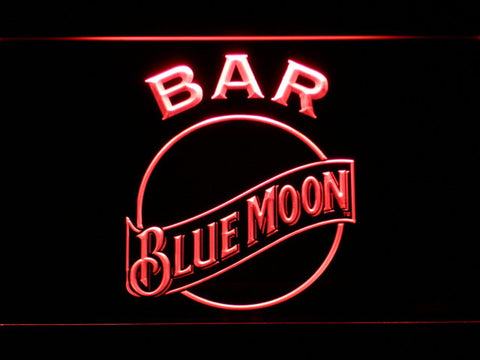 Blue Moon Bar LED Neon Sign - Red - SafeSpecial