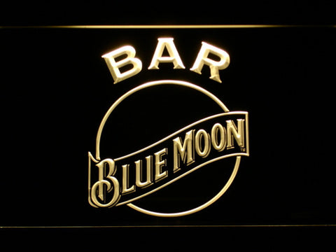 Blue Moon Bar LED Neon Sign - Yellow - SafeSpecial