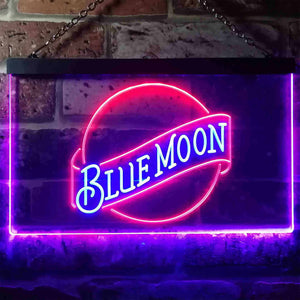 Blue Moon Beer - Logo 2 Neon-Like LED Sign - Dual Color