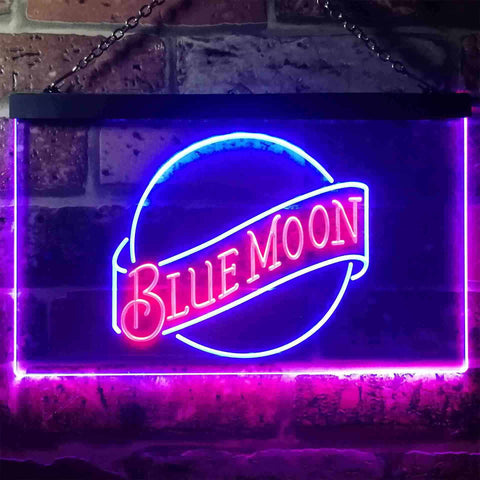 Image of Blue Moon Beer - Logo 2 Neon-Like LED Sign - Dual Color