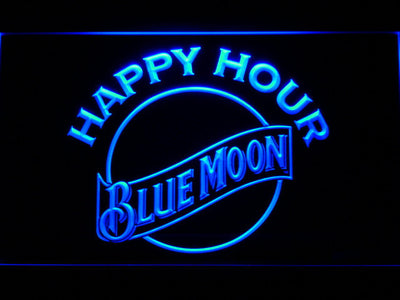 Blue Moon Happy Hour LED Neon Sign - Blue - SafeSpecial