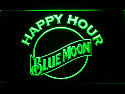 Blue Moon Happy Hour LED Neon Sign - Green - SafeSpecial