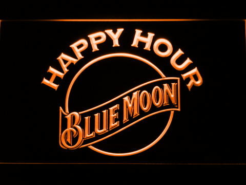 Image of Blue Moon Happy Hour LED Neon Sign - Orange - SafeSpecial