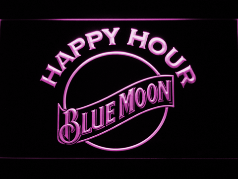 Image of Blue Moon Happy Hour LED Neon Sign - Purple - SafeSpecial