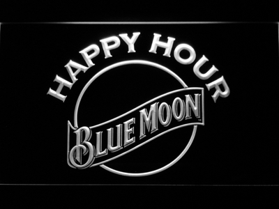 Blue Moon Happy Hour LED Neon Sign - White - SafeSpecial