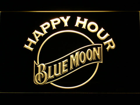 Blue Moon Happy Hour LED Neon Sign - Yellow - SafeSpecial