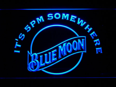Blue Moon It's 5pm Somewhere LED Neon Sign - Blue - SafeSpecial