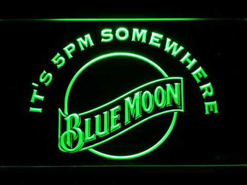 Blue Moon It's 5pm Somewhere LED Neon Sign - Green - SafeSpecial