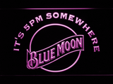 Blue Moon It's 5pm Somewhere LED Neon Sign - Purple - SafeSpecial