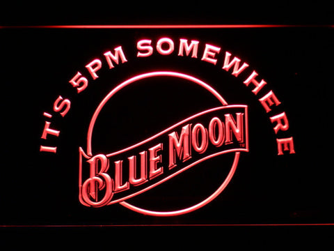 Blue Moon It's 5pm Somewhere LED Neon Sign - Red - SafeSpecial