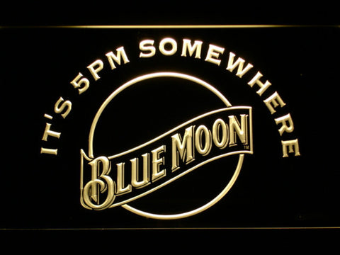 Blue Moon It's 5pm Somewhere LED Neon Sign - Yellow - SafeSpecial