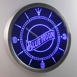 Blue Moon LED Neon Wall Clock - Blue - SafeSpecial