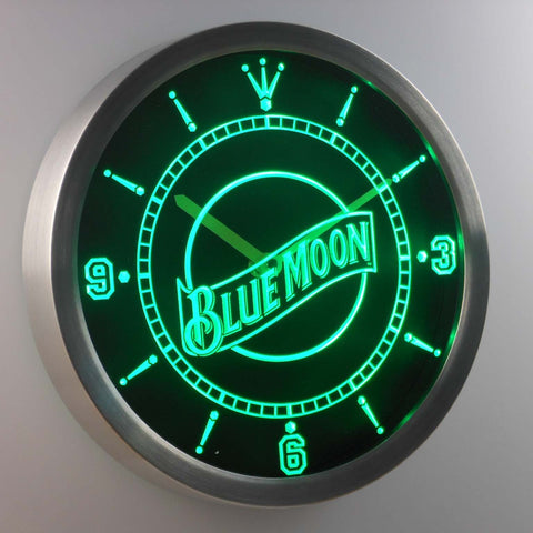 Image of Blue Moon LED Neon Wall Clock - Green - SafeSpecial