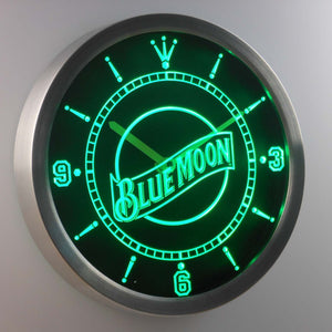 Blue Moon LED Neon Wall Clock - Green - SafeSpecial