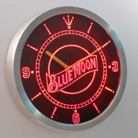 Image of Blue Moon LED Neon Wall Clock - Red - SafeSpecial