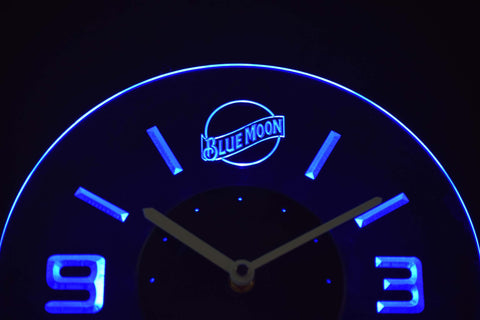 Blue Moon Modern LED Neon Wall Clock - Blue - SafeSpecial