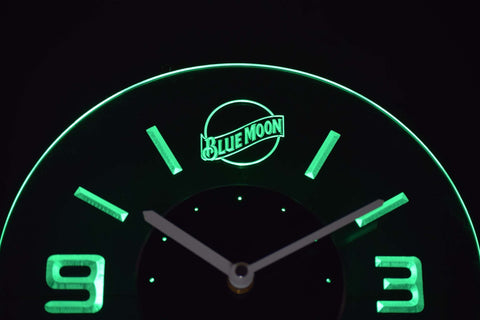 Blue Moon Modern LED Neon Wall Clock - Green - SafeSpecial