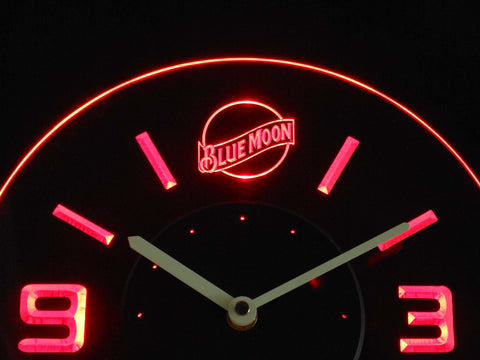 Blue Moon Modern LED Neon Wall Clock - Red - SafeSpecial